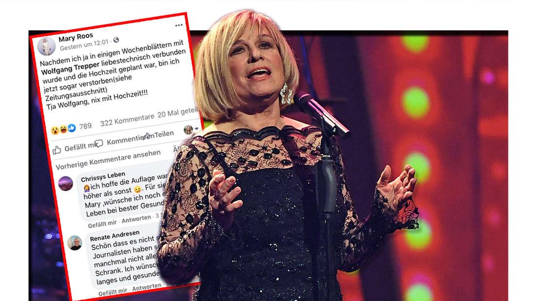Mary Roos steht während der José Carreras Gala in Leipzig am 12.12.2019 auf der Bühne. Screenshot von Mary Roos neusten Facebook-Post. (Fotomontage)