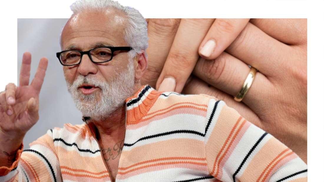 Nino de Angelo vor zwei Händen mit Ehering (Fotomontage)
