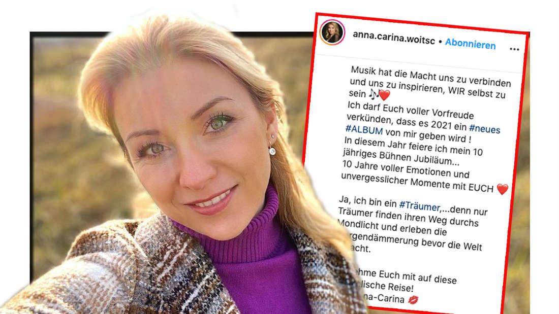 Instagram-Selfie von Schlagersängerin Anna-Carina Woitschack. Daneben: Screenshot ihrer Album-Ankündigung (Fotomontage)