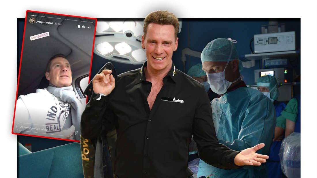 Ballermann-Star Jürgen Milski steht vor einem Operationstisch, daneben ein Screenshot seiner Instagram-Story (Fotomontage)