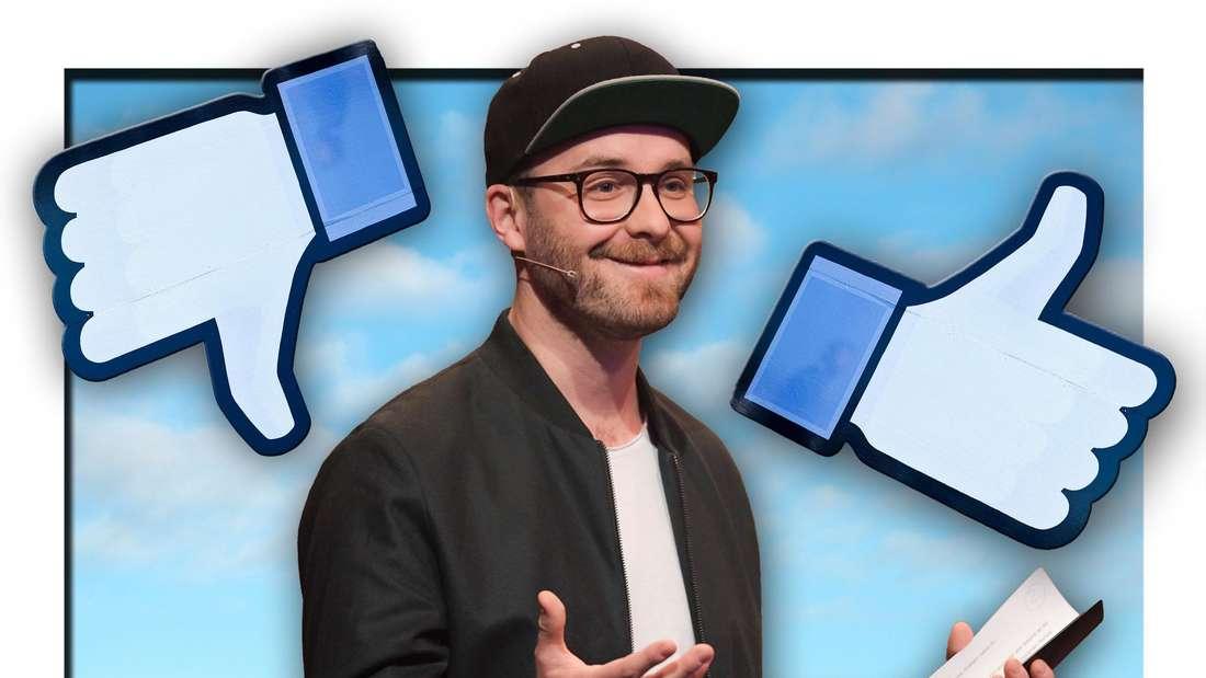Mark Forster steht vor blauem Himmel, daneben die aus den sozialen Netzwerken bekannten Like-Symbole (Fotomontage)