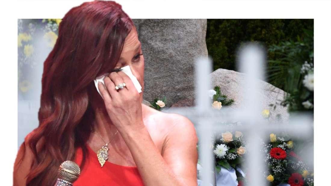 Andrea Berg wischt sich Tränen aus dem Gesicht (Fotomontage)