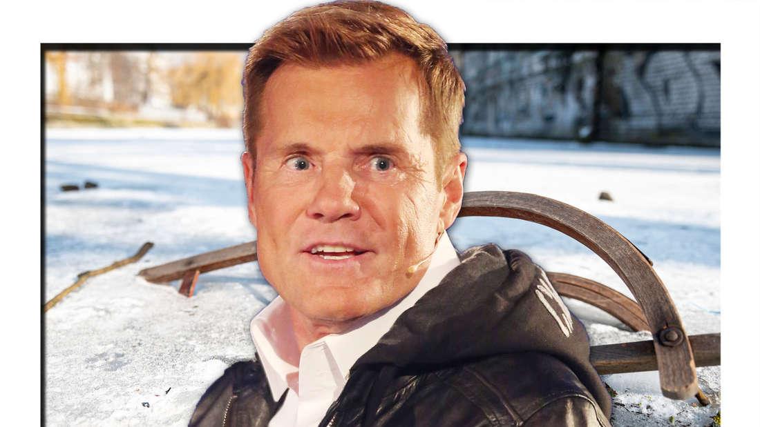 Ein Schlitten ist im Eis eingefroren, Dieter Bohlen schaut entsetzt (Fotomontage)