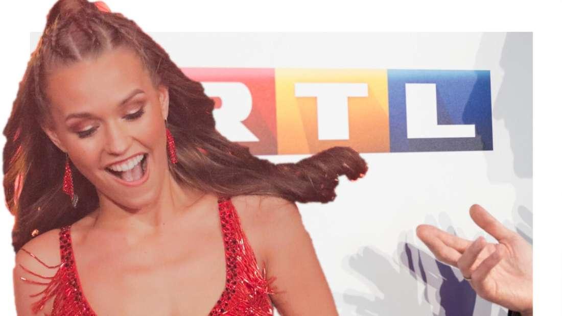 Laura Müller tanzt, im Hintergrund das RTL-Logo (Fotomontage)