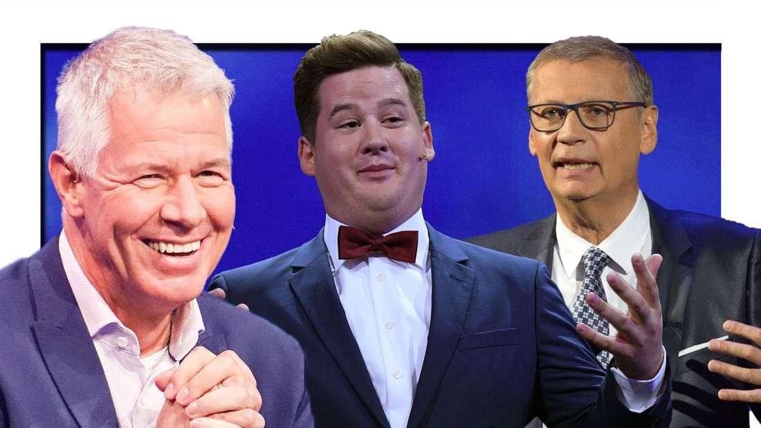 Peter Kloeppel klatscht in die Hände und lacht (links), Chris Tall grinst (mitte), Günther Jauch schaut skeptisch