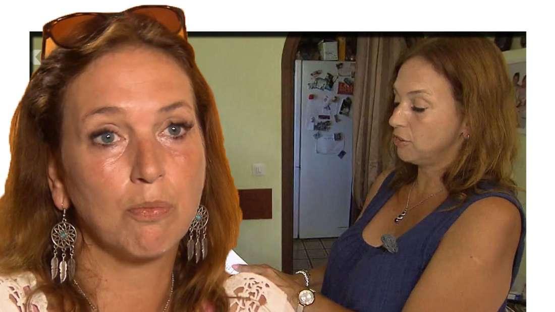 Janina schaut traurig in die Kamera, im Hintergrund ist sie mit einem Brief in der Hand zu sehen (Fotomontage).