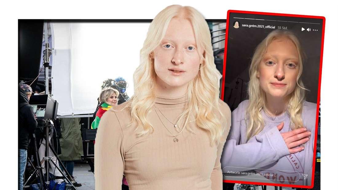 Fotomontage: Sara Ullmann vor, rechts daneben ein Screenshot ihrer Insta-Story, im Hintergrund das GNTM-Set