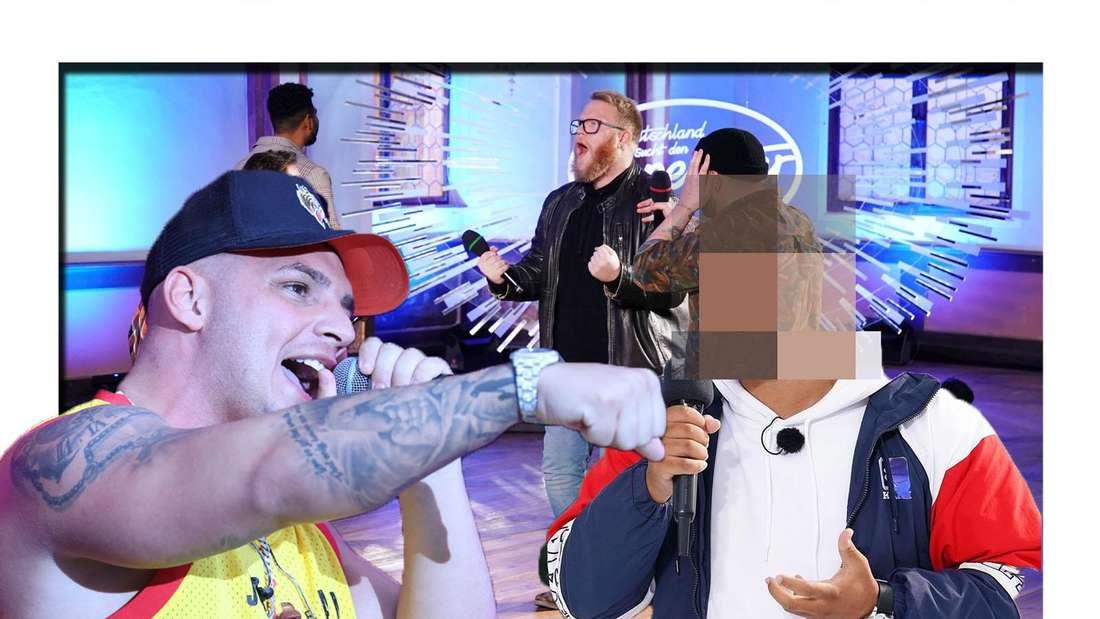Pietro Lombardi hat ein Mikrofon in der Hand - im Hintergrund sind die DSDS-Kandidaten zu sehen (Fotomontage).