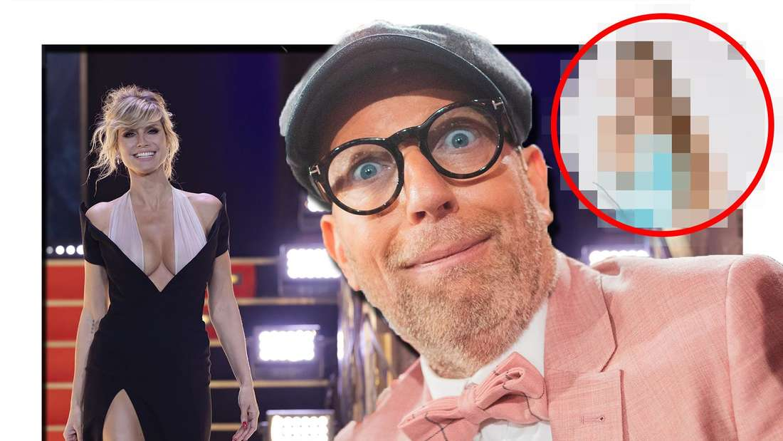 Fotomontage: Thomas Rath in der Mitte, links Heidi Klum, rechts ein verpixeltes Bild