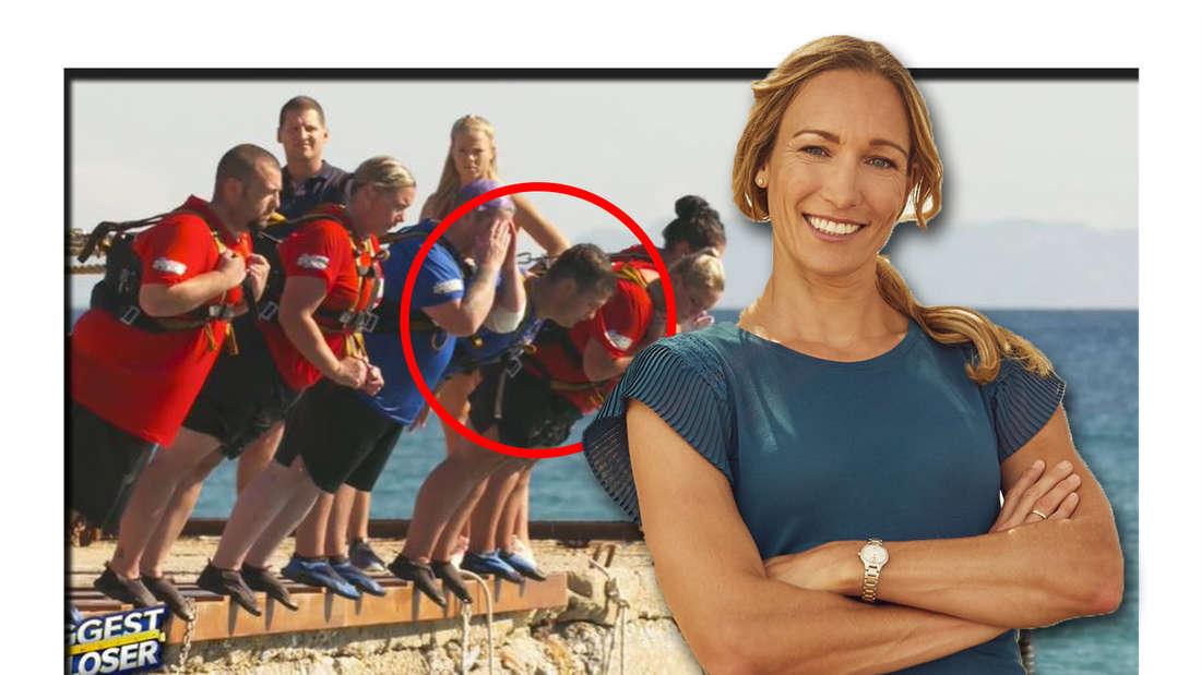 Fotomontage: Christine Theiss im Vordergrund, hinten die Kandidaten bei der Challenge