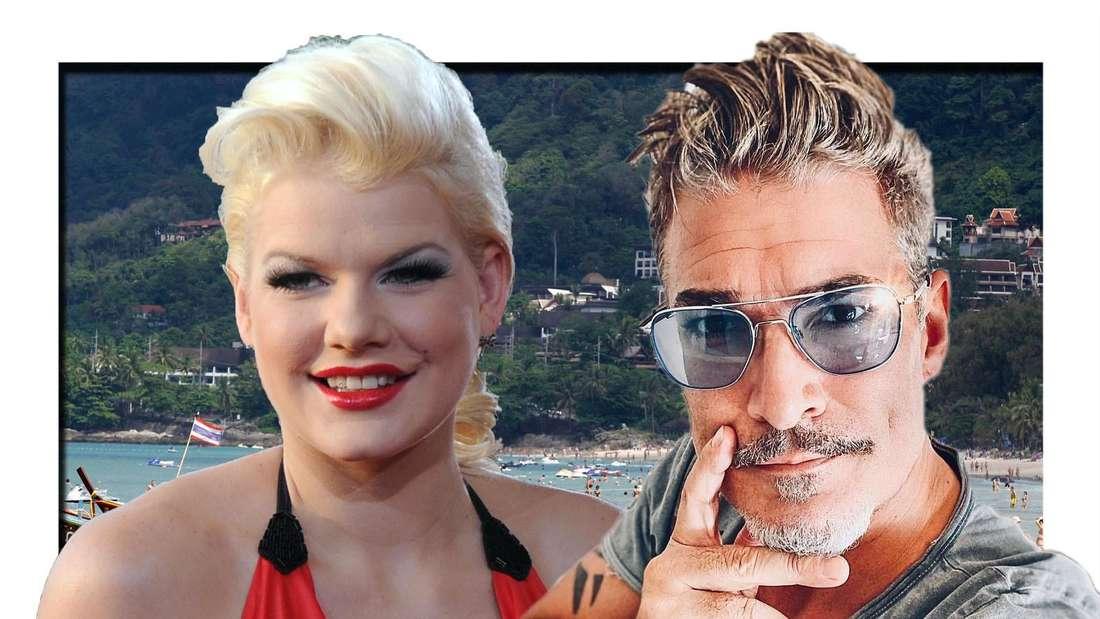 Promis unter Palmen: Melanie Müller und Chris Töpperwien, im Hintergrund der Strand von Phuket