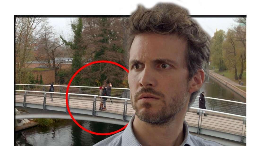 Fotomontage: Thaddäus Meilinger guckt erstaunt, im Hintergund die Kussszene auf der Brücke