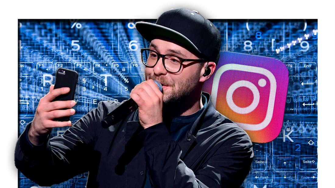 Mark Forster steht mit einem Handy in der Hand vor blau schimmernden Zahlen und Ziffern, daneben das Instagram-Logo (Fotomontage)