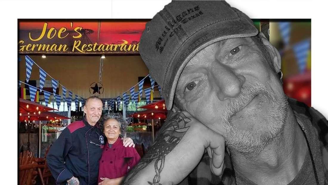 Fotomontage: Schwarz-weiß Bild von Werner, im Hintergrund er mit seiner Frau vor ihrem Restaurant