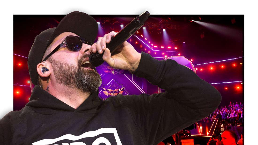 """Rapper Sido steht vor der Bühne der ProSieben-Sendung """"The Masked Singer"""" (Fotomontage)"""