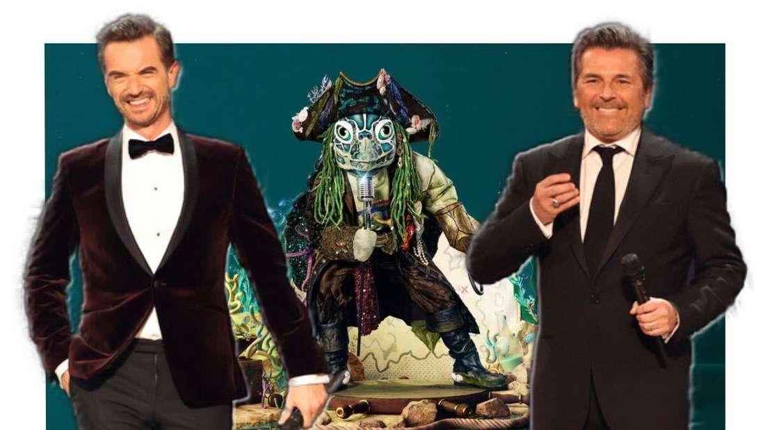 Die The Masked Singer-Schildkröte im Hintergrund, Florian Silbereisen und Thomas Anders im Vordergrund (Fotomontage)