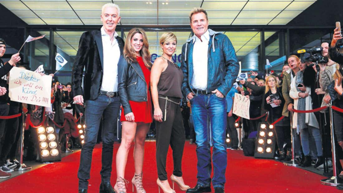Die DSDS-Jury freut sich schon auf die Merkers-Show (von links): Scooter-Frontmann H.P. Baxxter, Sängerin Vanessa Mai, Schlagerstar Michelle und natürlich das DSDS-Urgestein Dieter Bohlen.