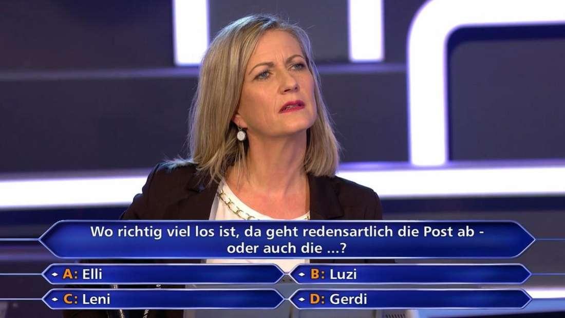"""Kandidatin Christine Schorer verzweifelt bei """"Wer wird Millionär"""" an der 200-Euro-Frage"""