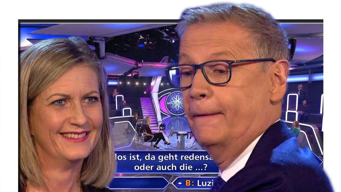 """Fotomontage: Kandidatin Christine Schorer und Moderator Günther Jauch im Studio von """"Wer wird Millionär"""""""