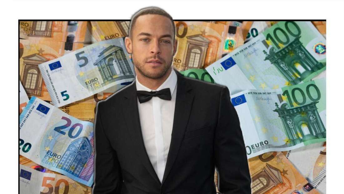 Andrej Mangold posiert im Smoking, im Hintergrund sieht man mehrere Geldscheine (Fotomontage)