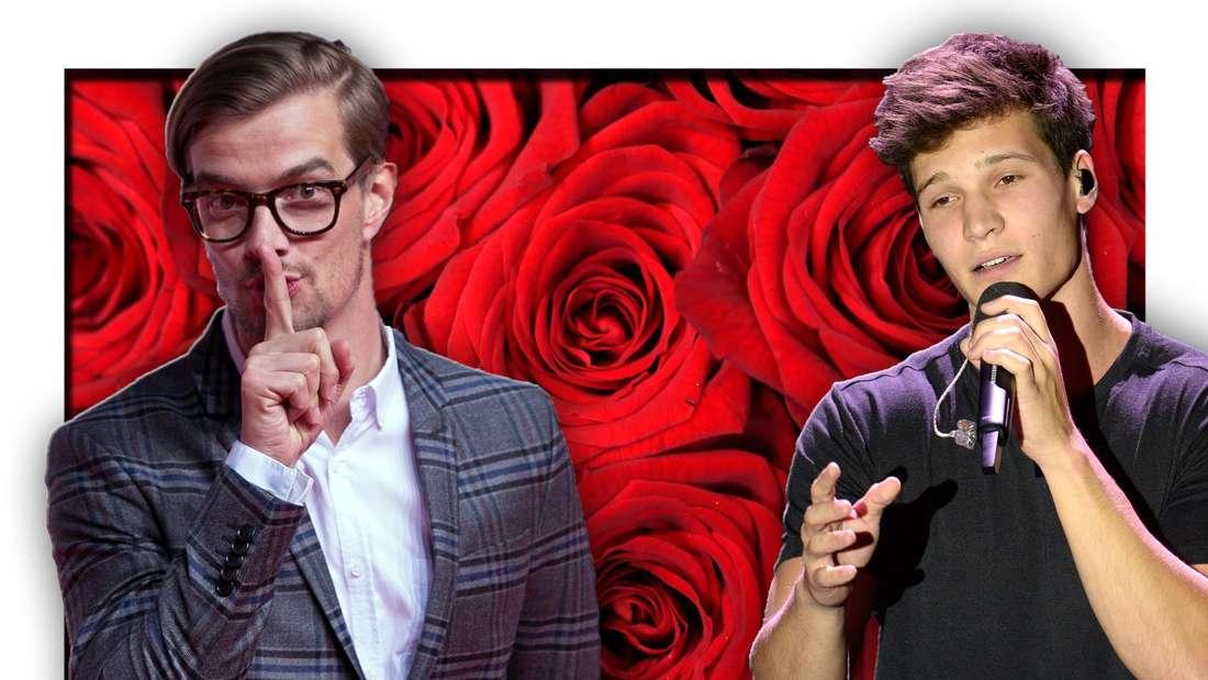 Popsänger Wincent Weiss und ProSieben-Moderator Joko Winterscheidt stehen vor roten Rosen (Fotomontage)