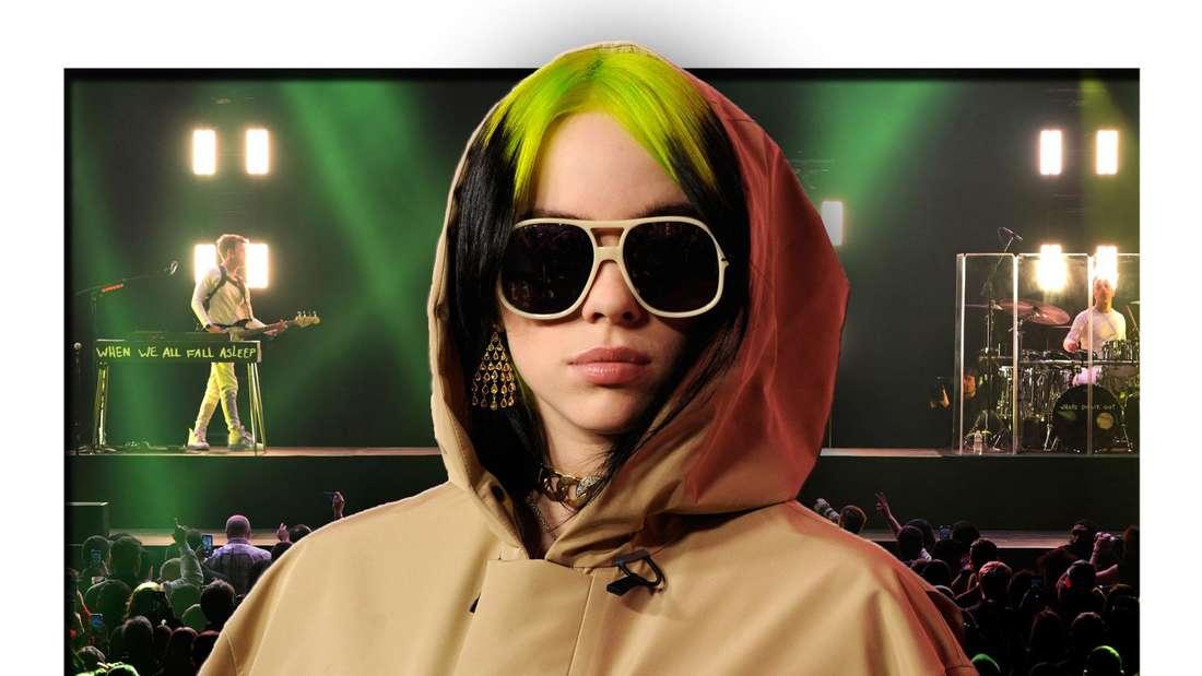 Popstar Billie Eilish steht vor einer Menschenmenge, die einem Konzert des Popstars in Inglewood (Los Angeles) beiwohnen (Fotomontage)