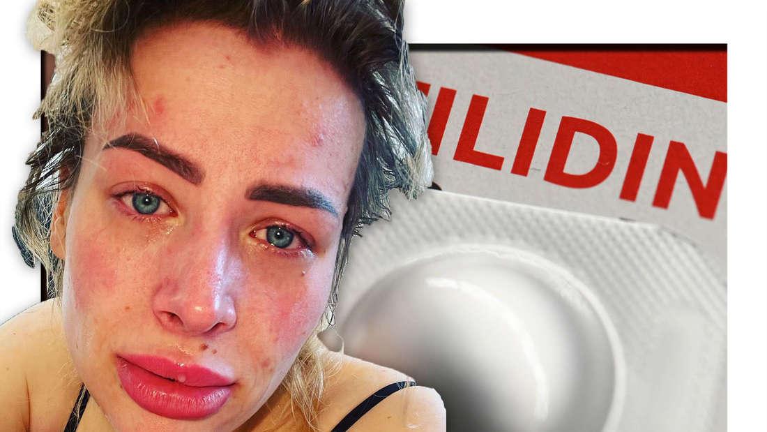 Aline Bachman, im Hintergrund Schmerztabletten
