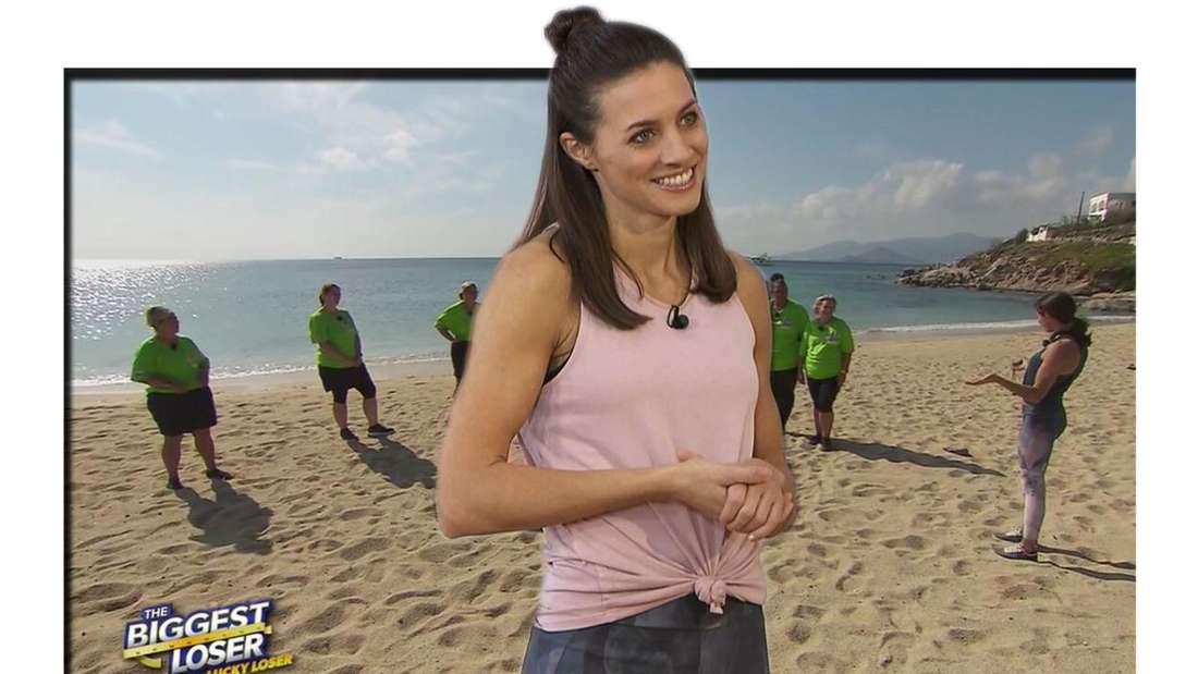 Ernährungsberaterin Marion Luck am Strand von The Biggest Loser in Griechenland Fotomontage