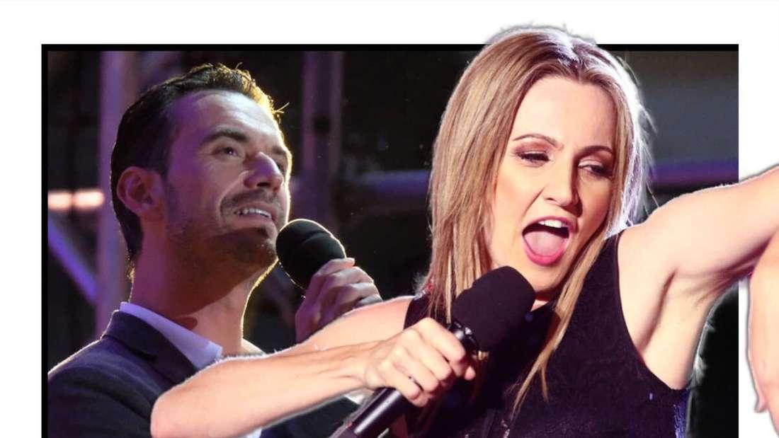 Florian Silbereisen und Melissa Naschenweng nebeneinander, singen in ein Mikrofon (Fotomontage)