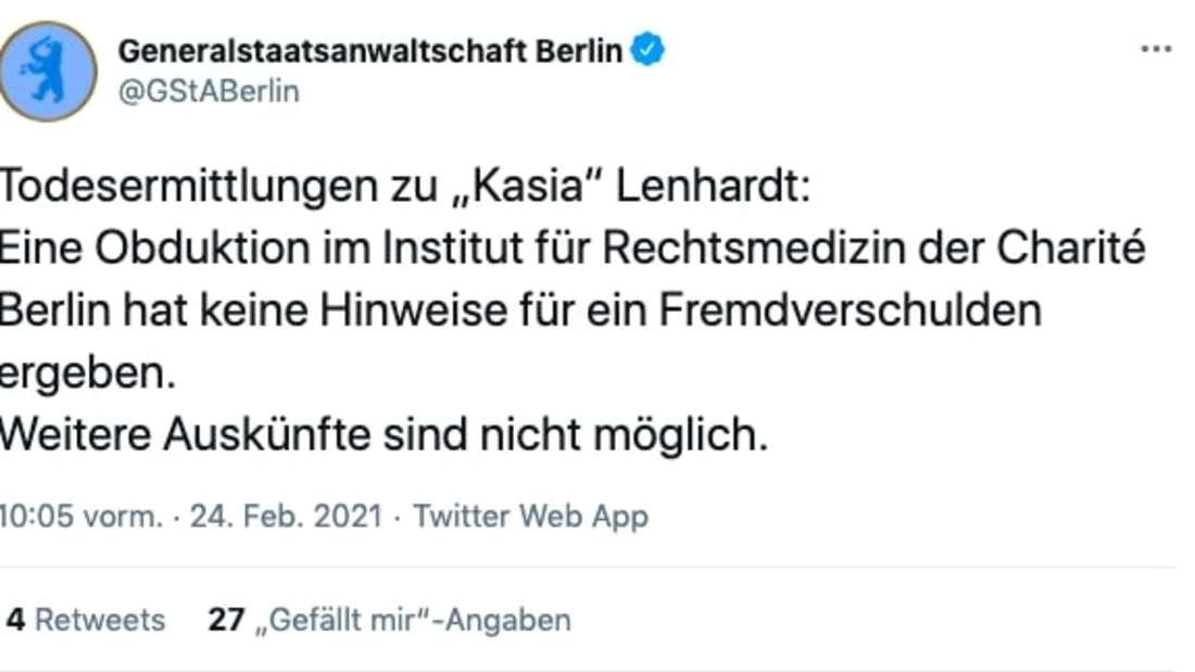 Die Generalstaatsanwaltschaft Berlin veröffentlicht die Obduktionsergebnisse von Kasia Lenhardt