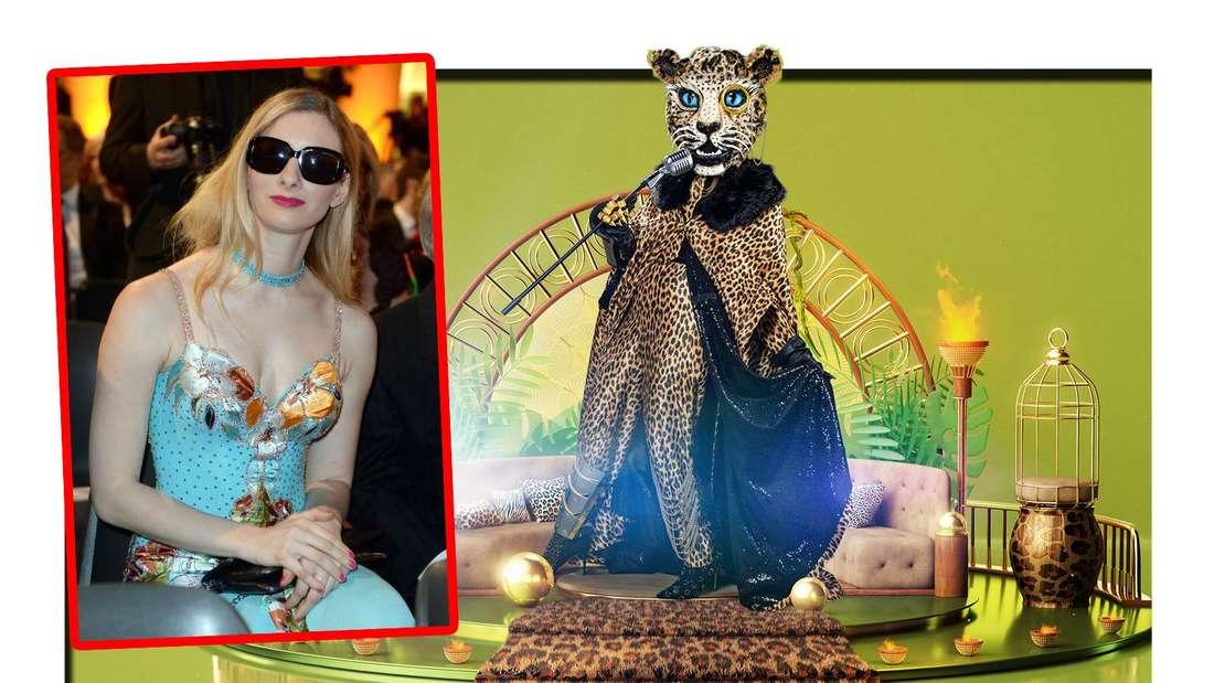 Fotomontage: Ein Bild der Sängerin Joana Zimmer neben dem Leoparden