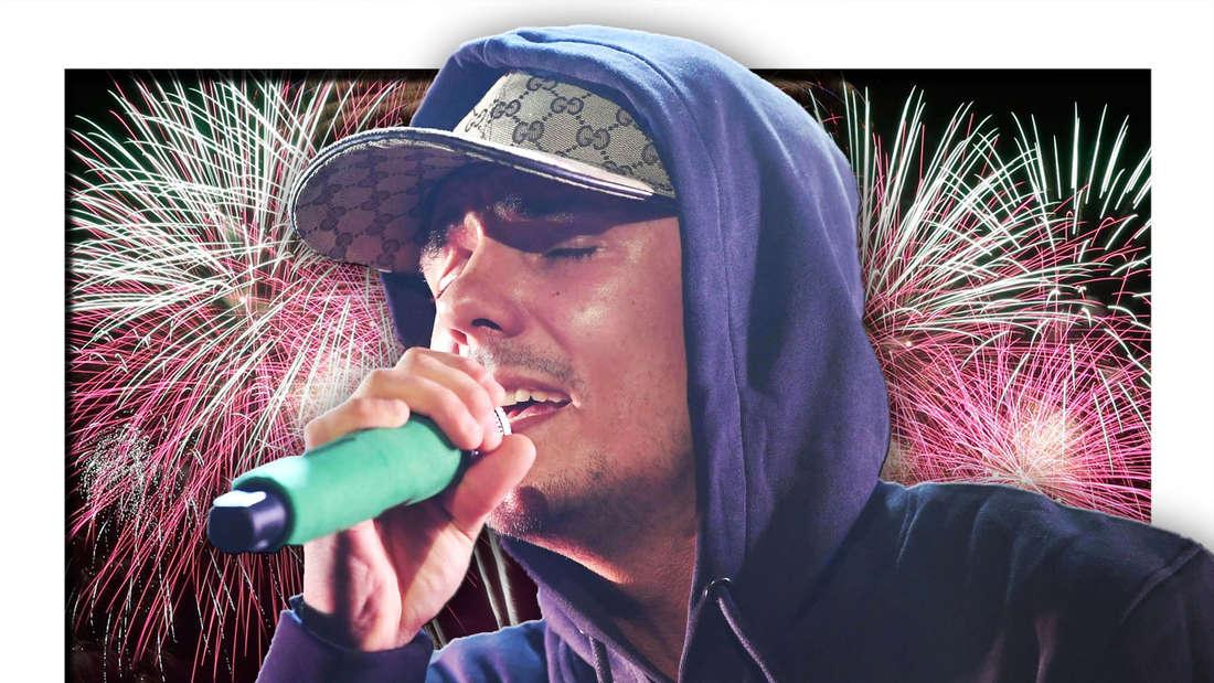Der Rapper Capital Bra steht vor einem Feuerwerk (Fotomontage)