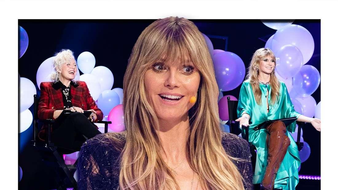 Fotomontage: Heidi Klum schaut überrascht, im Hintergrund sie und Ellen von Unwerth
