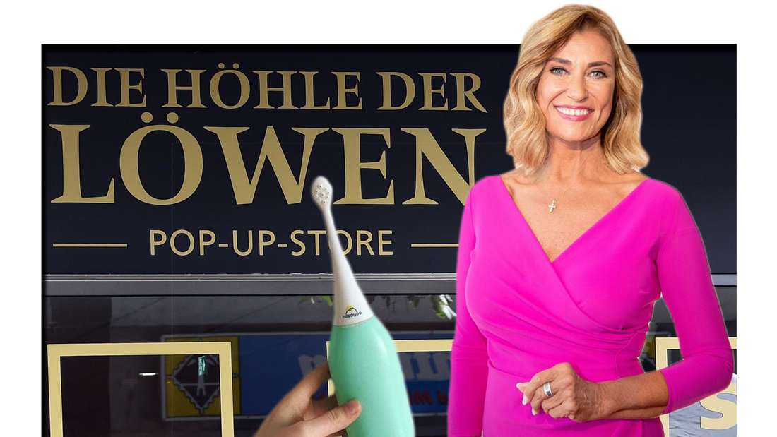 Investorin Dagmar Wöhrl steht vor Die Höhle der Löwen Pop-Up Store mit HappyPo Produkt