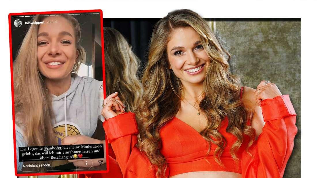 Fotomontage: Lola Weippert neben einem Screenshot ihrer Insta-Story