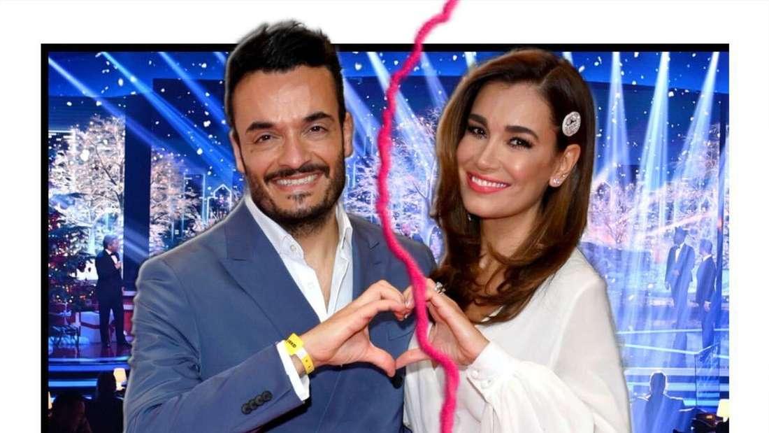Giovanni und Jana Ina Zarrella blicken in die Kamera, in der Mitte ein Blitz - im HIintergrund eine Showbühne (Fotomontage)