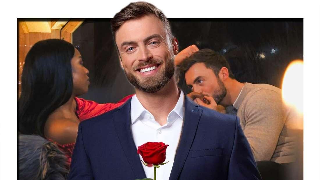 Fotomontage: Bachelor Niko Griesert mit Rose, dahinter bei einem Gespräch mit Kandidatin Linda