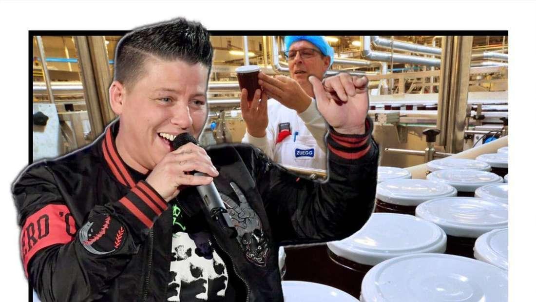 Kerstin Ott singt lächelnd in ein Mikrofon - dahinter ist eine Marmeladen-Manufaktur zu sehen (Fotomontage)