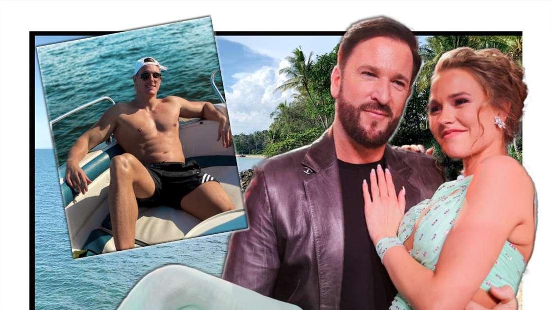Michael Wendler und Laura Müller neben einem Instagram-Screenshot - im Hintergrund sieht man einen Strand (Fotomontage)