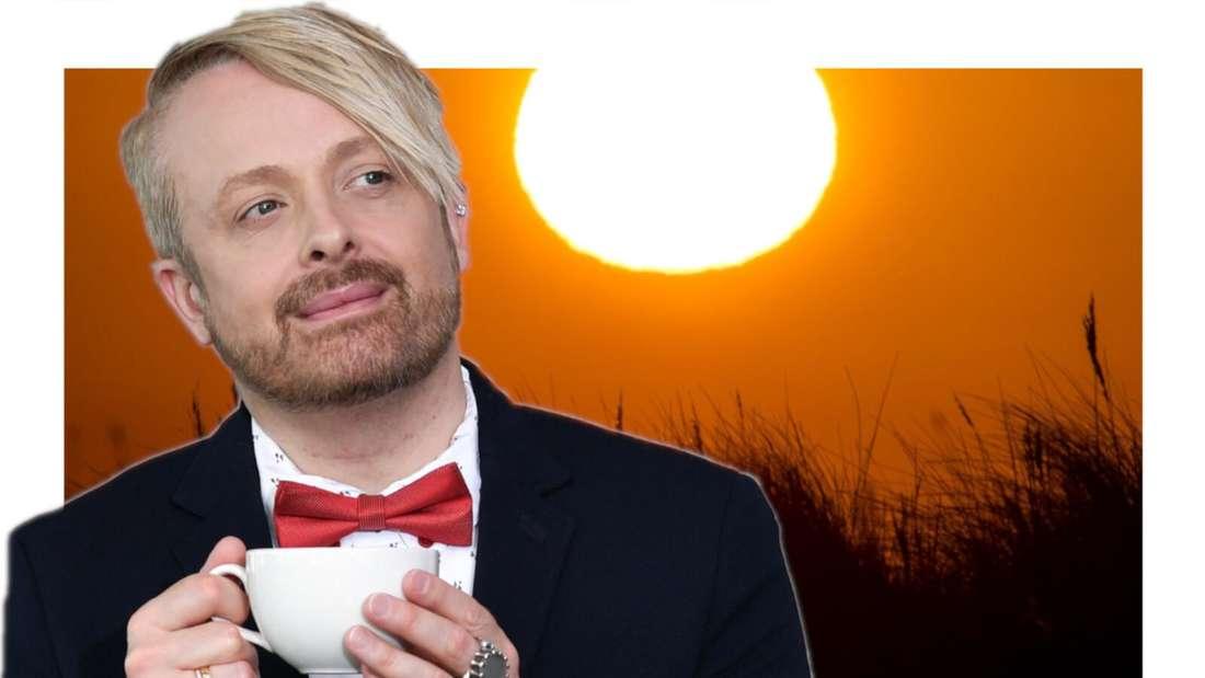 Ross Antony schaut in den Sonnenaufgang (Fotomontage)