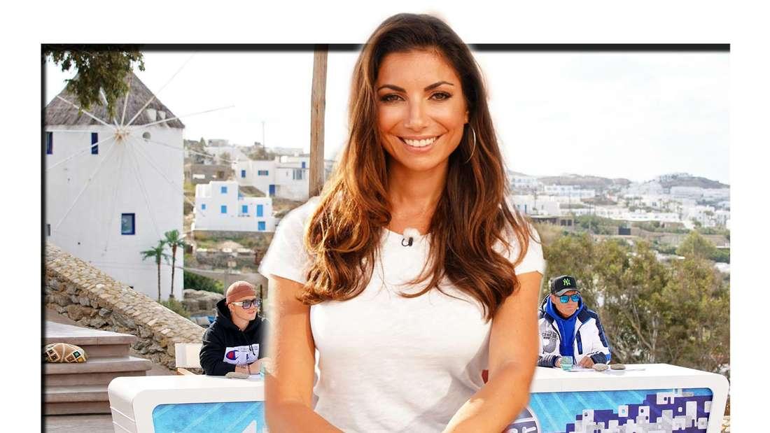 Frau von Dieter Bohlen Carina Walz vor DSDS Jury in Mykonos (Fotomontage)