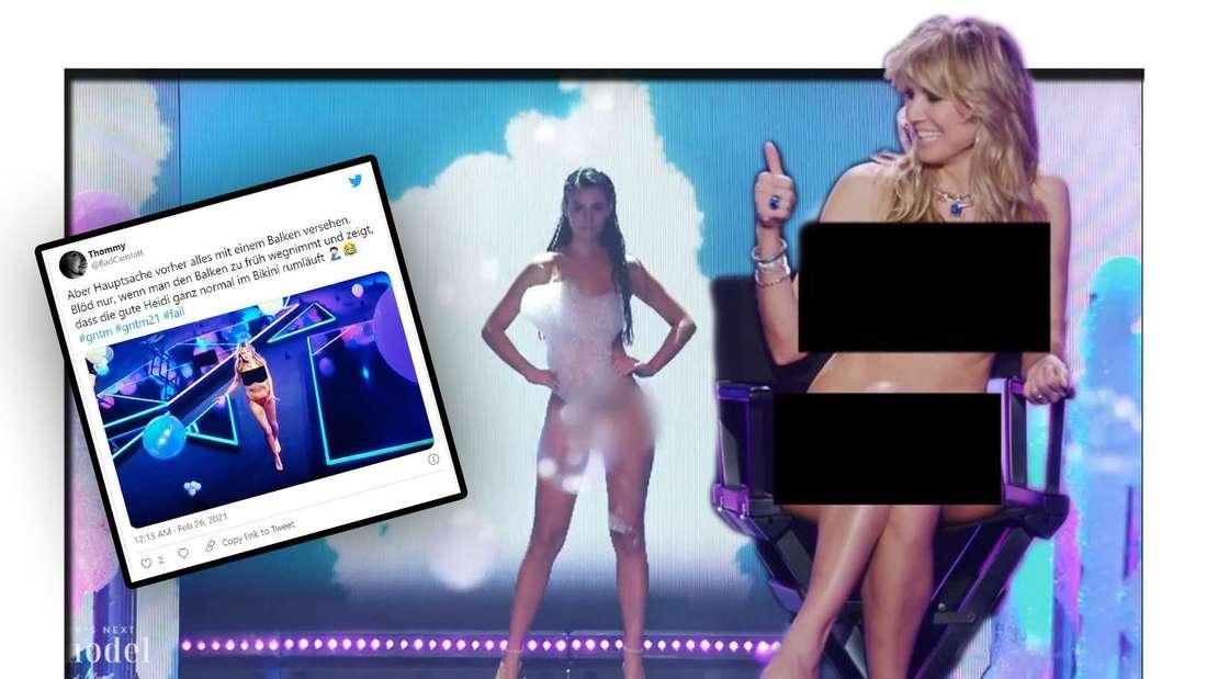 Heidi Klum auf GNTM Catwalk und Tweet screenshot (Fotomontage)