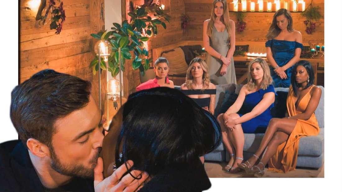 Fotomontage: Bachelor Niko Griesert und Kandidatin Linda küssen sich, dahinter ein Bild aller verbliebenen Frauen bei der Nacht der Rosen