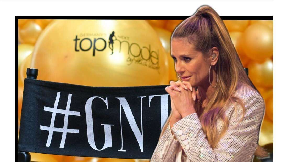 Heidi Klum faltet besorgt die Hände - im Hintergrund sieht man das GNTM-Logo (Fotomontage)