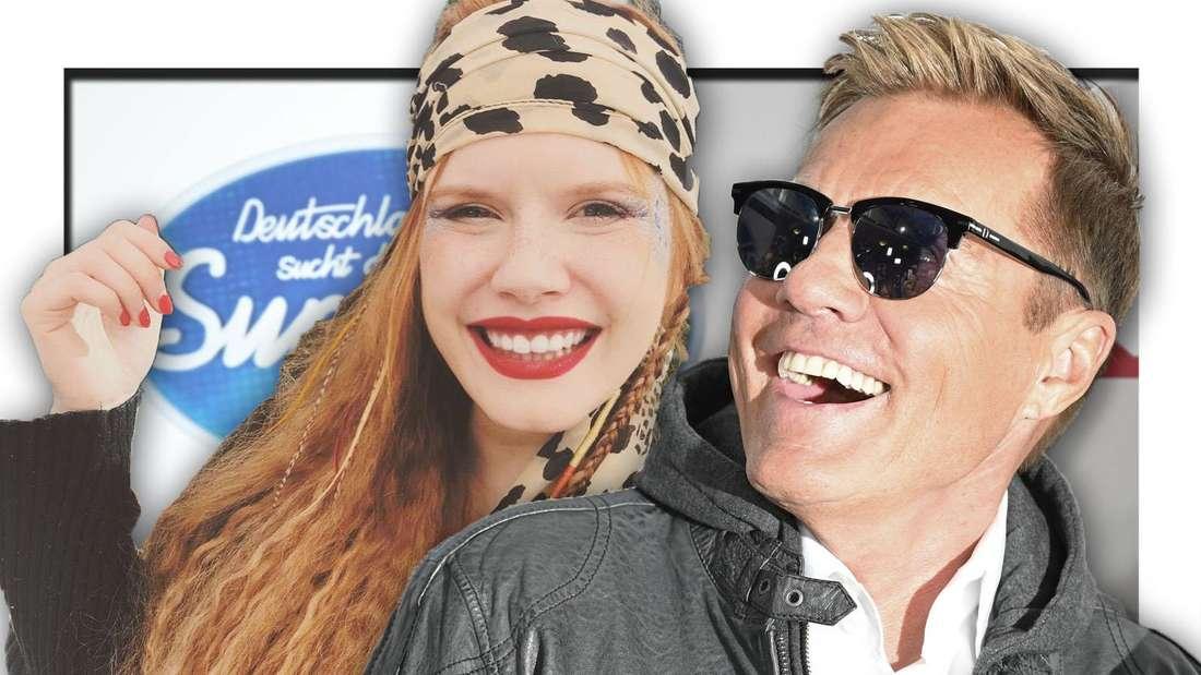 Michelle lächelt in die Kamera, Dieter Bohlen grinst sie an (Fotomontage)