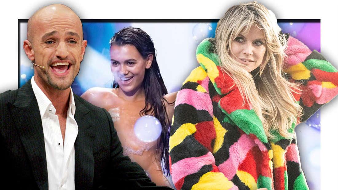 Peyman Amin überrascht, Heidi Klum schaut verträumt zur Seite, im Hintergrund ein Model nur mit Schaum bedeckt (Fotomontage)