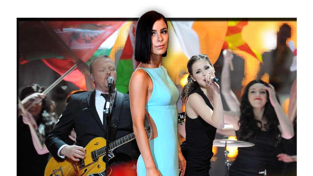 Popstar Lena Meyer-Landrut steht in einem Abendkleid vor einem Bild, das sie neben Stefan Raab beim Eurovision Song Contest (ESC) zeigt (Fotomontage)