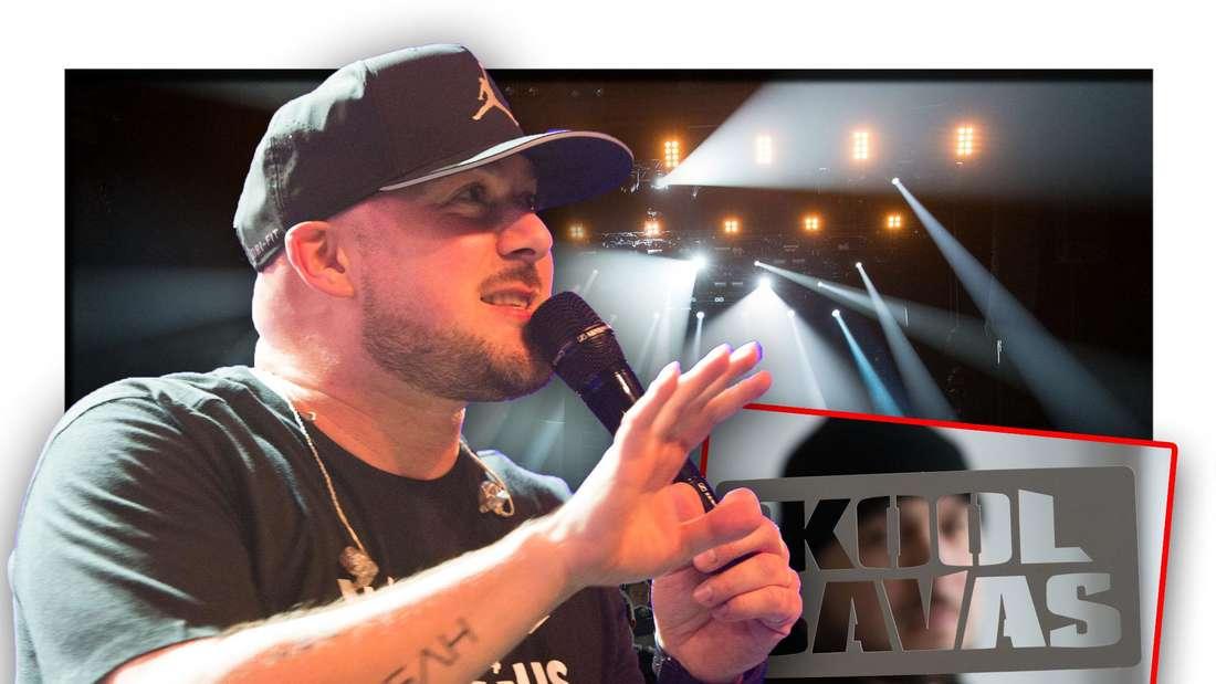Rapper Kool Savas steht vor einem Bild mit Konzertbesuchern, daneben ein Foto einer Schablone, die den Namen des Musikers zeigt (Fotomontage)