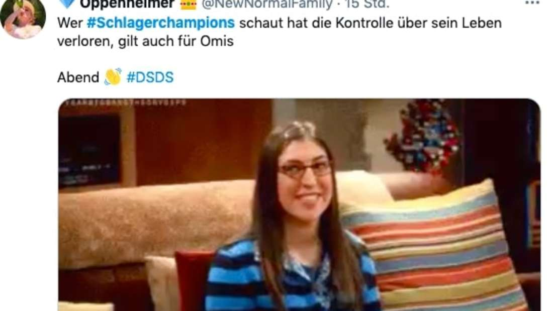 """Twitter-Screenshot von Kommentar zu """"Schlagerchampions 2021"""" - Kontrolle übers Lebens verloren"""