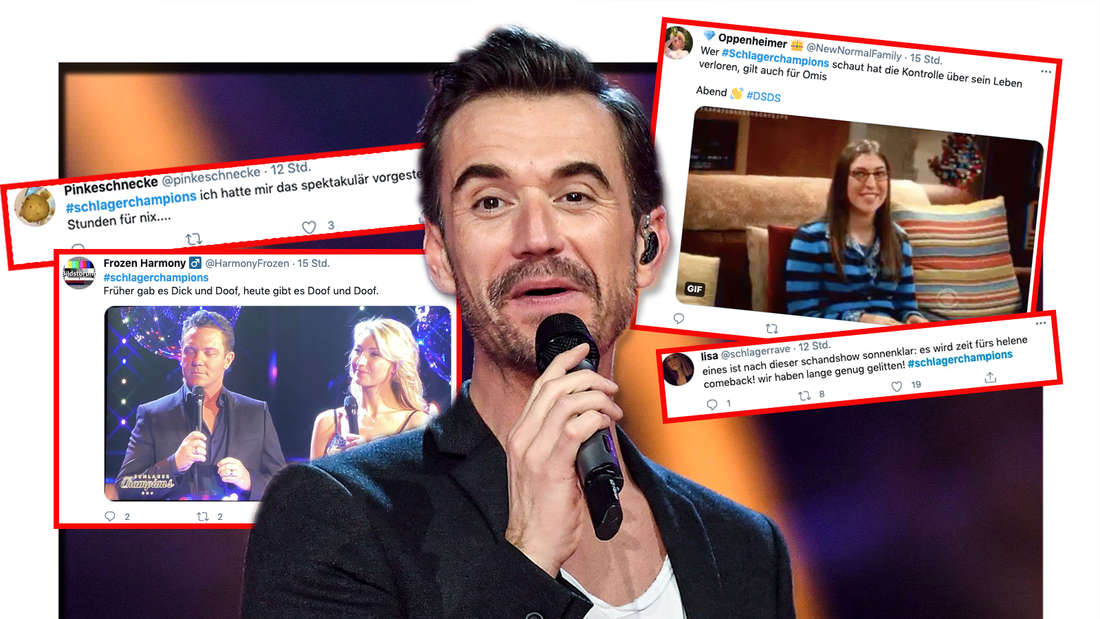 """Florian Silbereisen steht bei der Show """"Schlagerchampions – Das große Fest der Besten"""" am 11.01.2020 auf der Bühne. 4 Screenshots von wütenden Twitter-Fans. (Fotomontage)"""